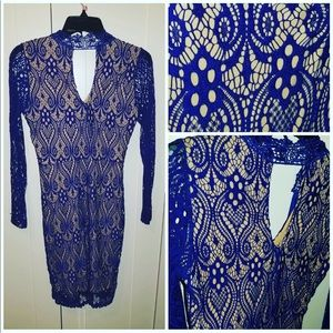 Dresses & Skirts - Royal Blue lace and nude Dress (long sleeve)